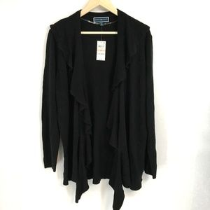 Karen Scott Solid Black Ruffle Cardigan